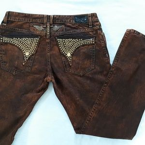 Robins Jean Copper Embellished Flap Pocket Size 36